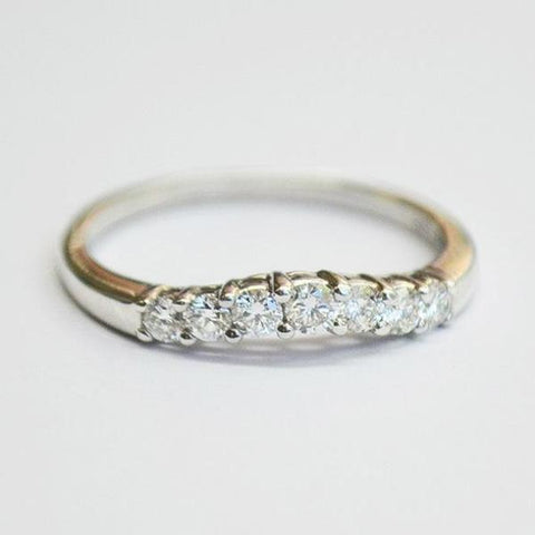 White Curved Prong Set Diamond Band