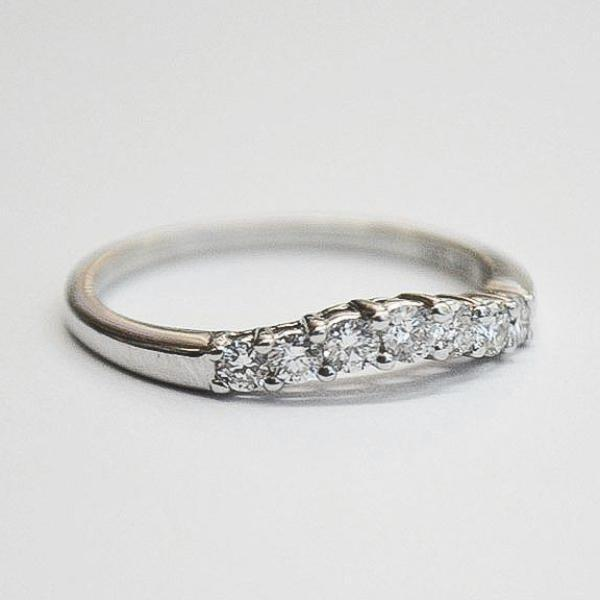 White Suspension European Solitaire & Curved Diamond Band
