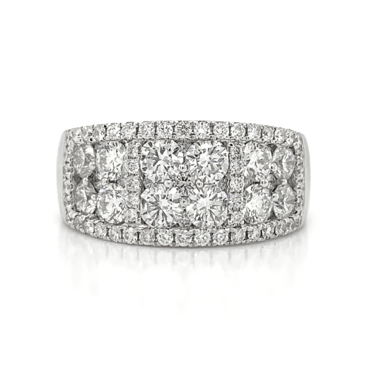 White Wide Pave Cluster Pave Diamond Band