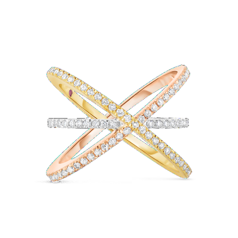 Criss Cross White, Rose and Yellow Ring with Diamonds
