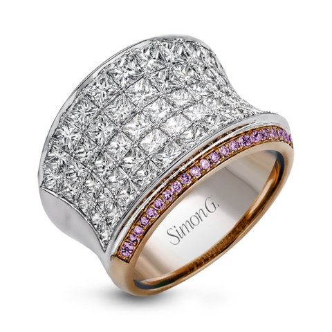 Nocturnal White and Rose Concave Ring with White and Pink Diamonds