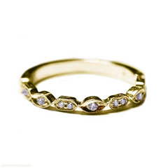 Yellow Gold Marquise & Rectangle Alternating Diamond Band