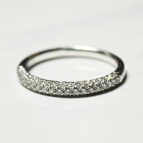 White 3 Row Dome Micro Pave Diamond Band