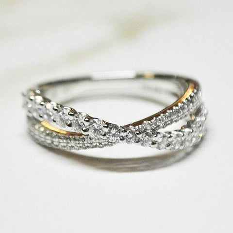 White Cross-Over Diamond Band