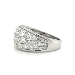 White Gold Wide 5 Row Prong Set & Pave Diamond Band