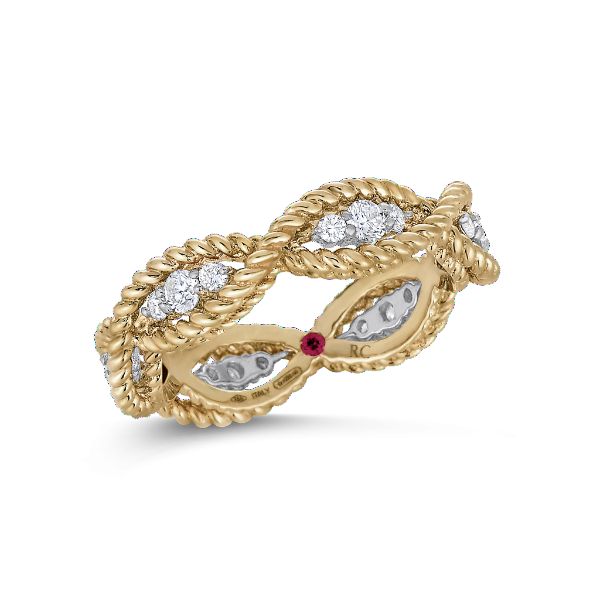 Barocco Yellow Gold One Row Ring with Diamonds