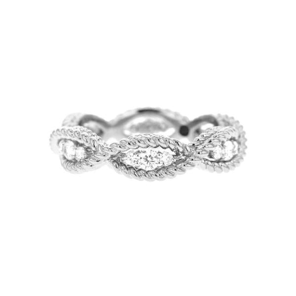 Barocco White Gold One Row Ring with Diamonds