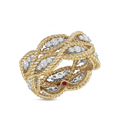 Barocco Yellow Gold Two Row Ring with Diamonds