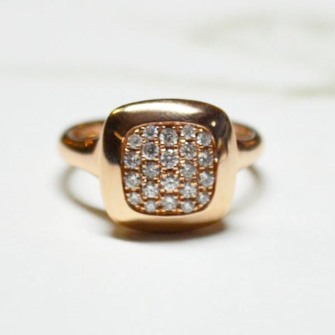Rose Gold Square Diamond Pave Fashion Ring