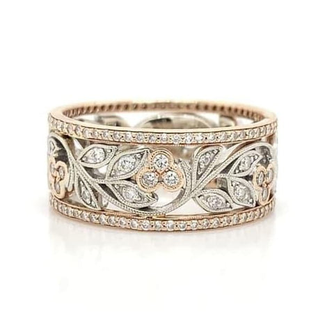 Rose and White Eternity Milgrain Floral Pave Diamond Band