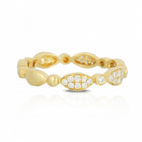 Yellow Marquise & Round Diamond Pave Half Band