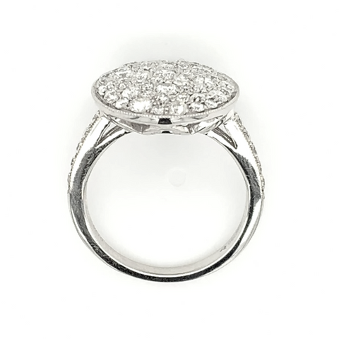 Large White Oval Diamond Pave Ring