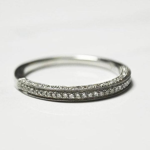 White 3 Row Box Milgrain Pave Diamond Band