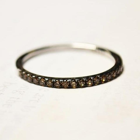 White Pave Dark Champagne Diamond Band
