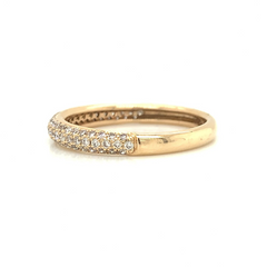 Rose 3 Row Dome Micro Pave Diamond Band