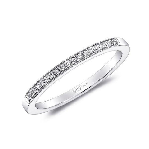 White Diamond Milgrain Pave Band
