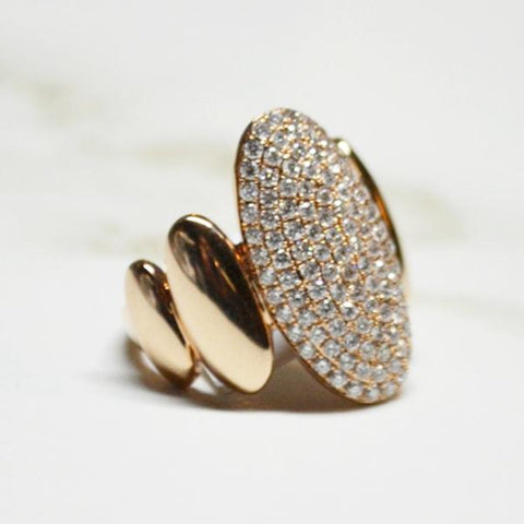 Rose Gold Oval Diamond Pave Ring
