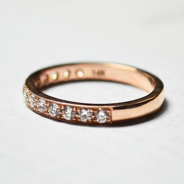 Rose Milgrain Pave Diamond Band