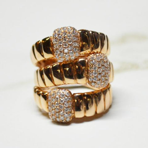 Rose Gold 3 Band Pave Diamond Station Ring