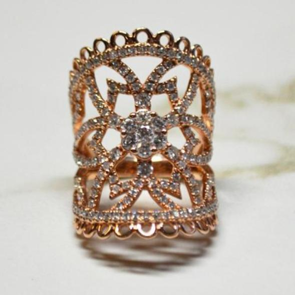 Rose Gold Wide Floral Cluster Diamond Pave Ring