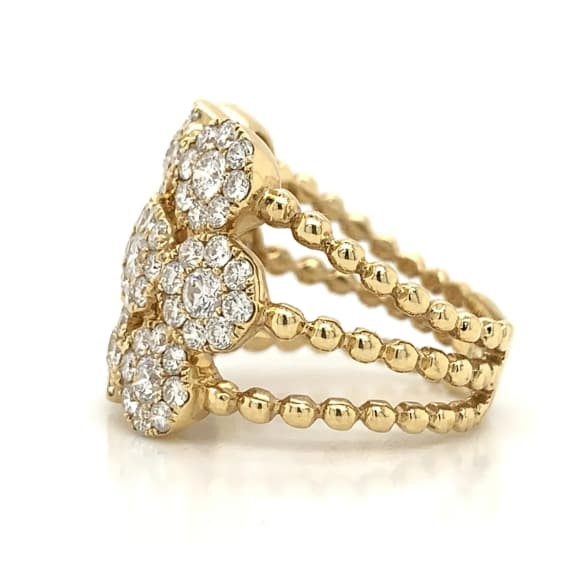 Yellow Gold Wide 3 Row Cluster Station Diamond Band