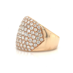 Rose Gold Wide 9 Row Pave Diamond Band