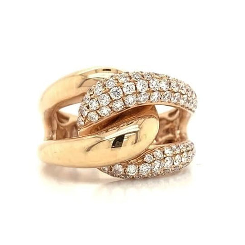 Rose Gold Wide Knot Pave Diamond Band