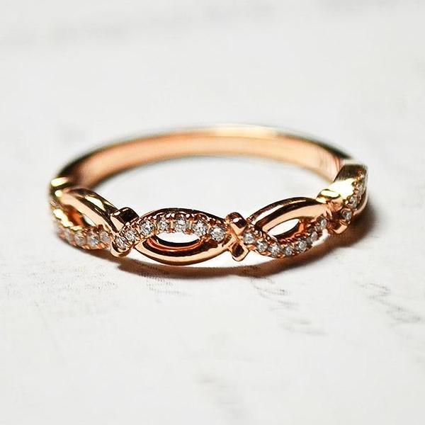 Rose Twist & Flower Pave Diamond Band