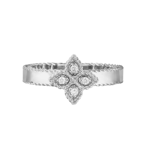 Princess Flower Small White Gold Ring with Diamonds
