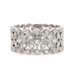Intricate Open Floral Wide Pave Diamond Band