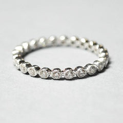 White Bezel Set Eternity Diamond Band