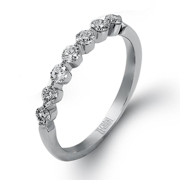 White Shared Prong Diamond Band