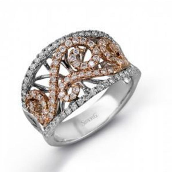 Rose & White Swirl Band with Diamonds