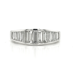White Gold Tapered Baguette Channel Set Diamond Band