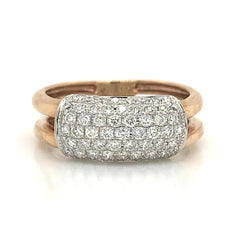 Rose Gold Open Double Ring 7 Row Pave Diamond Band