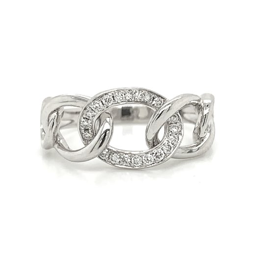 White Gold 5 Open Interlocking Knot Pave Diamond Band