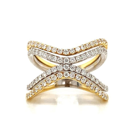 Wide Open Wave Two-Tone Diamond Pave Band