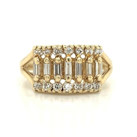 Yellow Gold Antique Baguette & Round Diamond Band