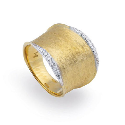 Lunaria Yellow Gold & Diamond Pave Medium Ring