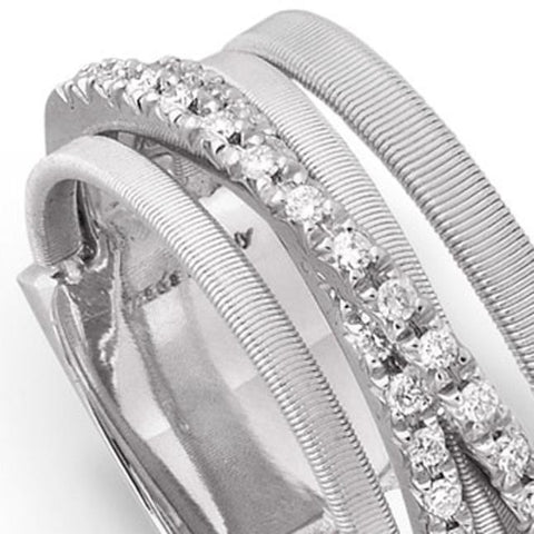 Goa White Gold Five Strand Crossover Pave Diamond Ring
