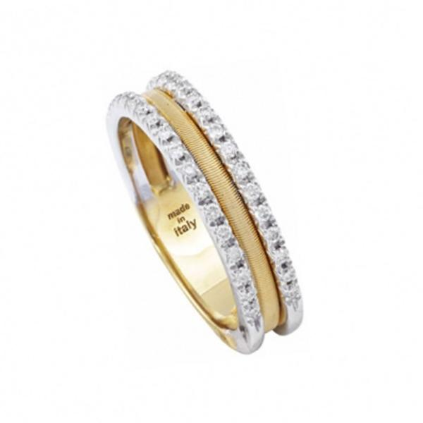 Goa Yellow Gold Three Row Pave Diamond Ring