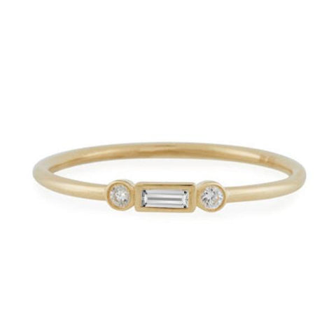 Yellow Delicate Bezel Set Round and Baguette Station Diamond Stackable Ring