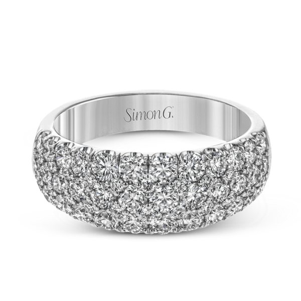 Classic White 5 Row Pave Band with Diamonds