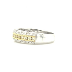 White & Yellow Gold 3 Row Pave Band with Yellow Diamonds