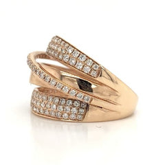 Rose Gold Wide 4 Band Crossover Pave Diamond Band