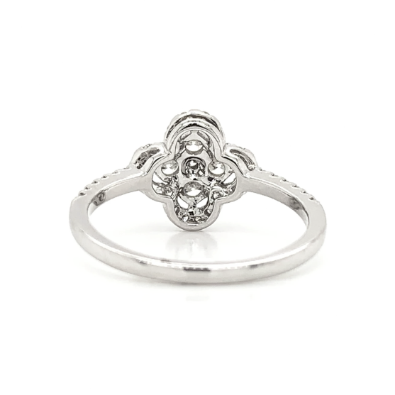 White Gold Clover Cluster Prong Set Diamond Band