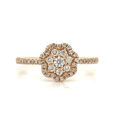 Rose Gold Cluster Flower Station Diamond Band