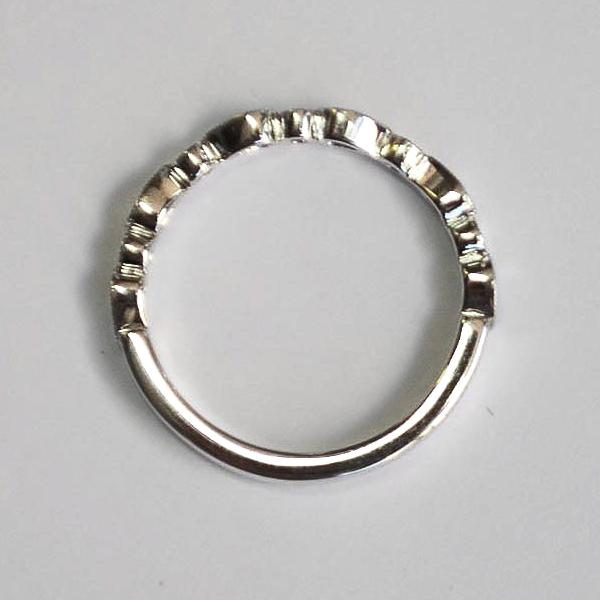 White Pear & Round Alternating Milgrain Pave Diamond Band