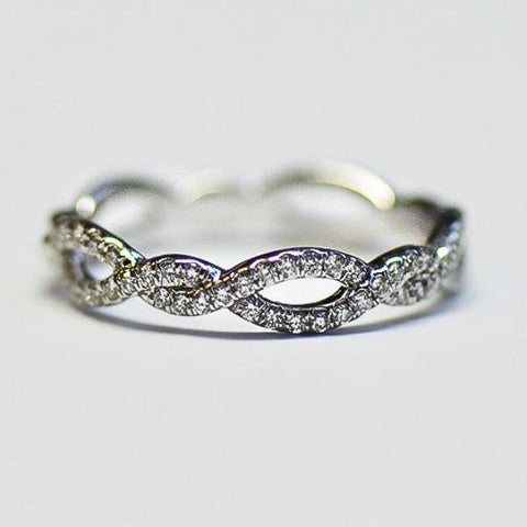 White Alternating Open Twist Pave Diamond Band