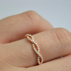 Rose Open Twist Delicate Pave Diamond Band